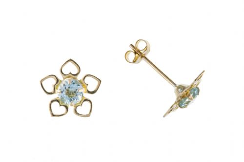 9 Carat Yellow Gold Blue Topaz Flower Stud Earrings AP8043